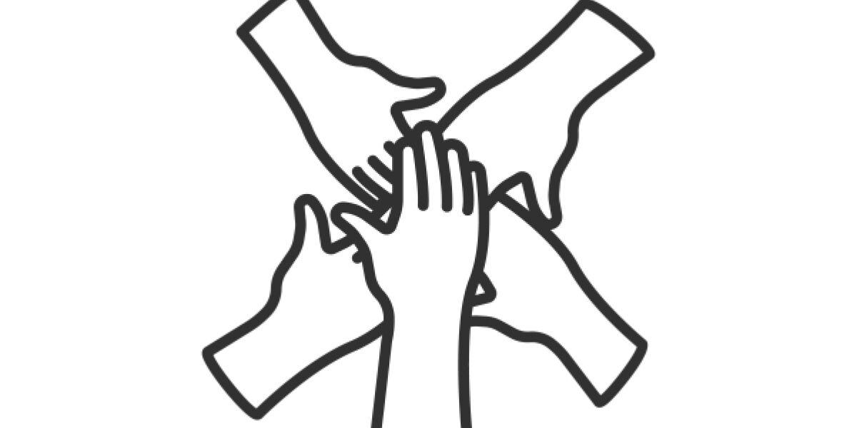 Hände liegen übereinander
