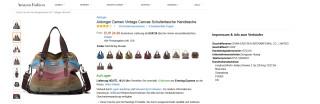Screenshot eines Amazon-Shops plus Impressum