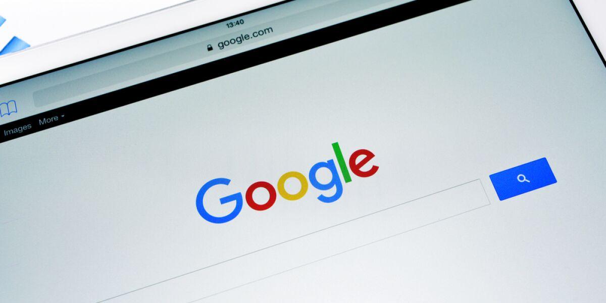 Google Starseite auf dem Tablet