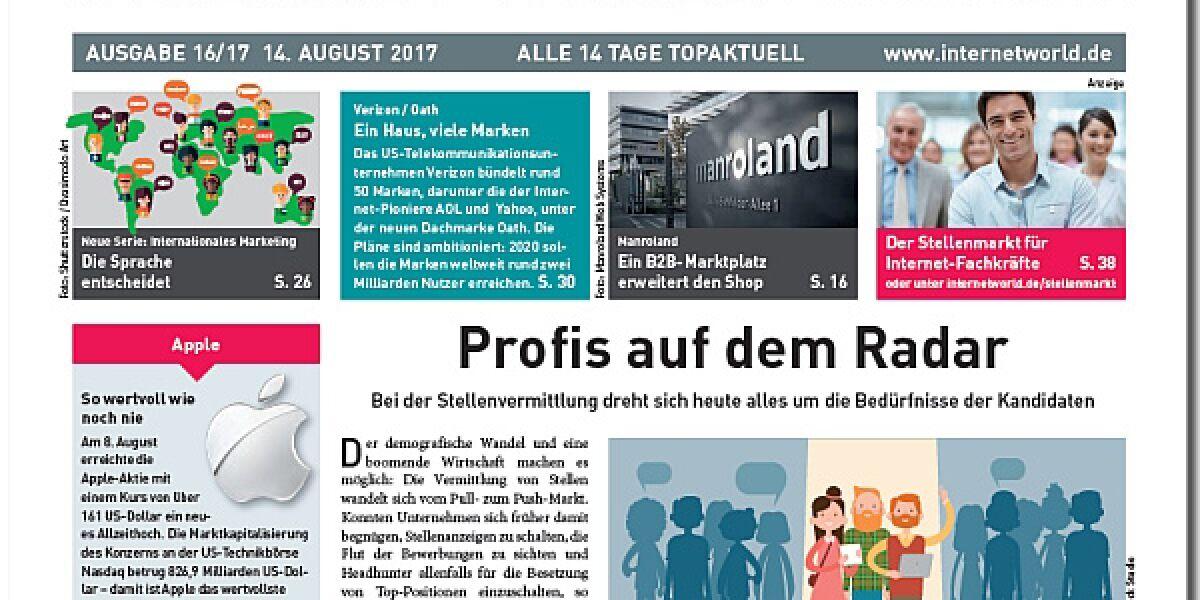 Cover der Ausgabe 16-2017 von INTERNET WORLD Business