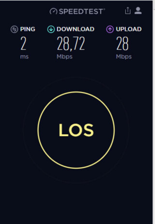 Speedtest zeigt die Geschwindigkeit der Internet-Leitung.