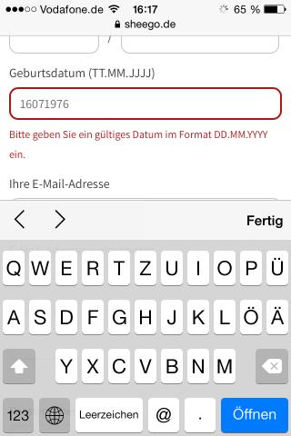 Mobile Checkout Fehlermeldung Inline Validierung
