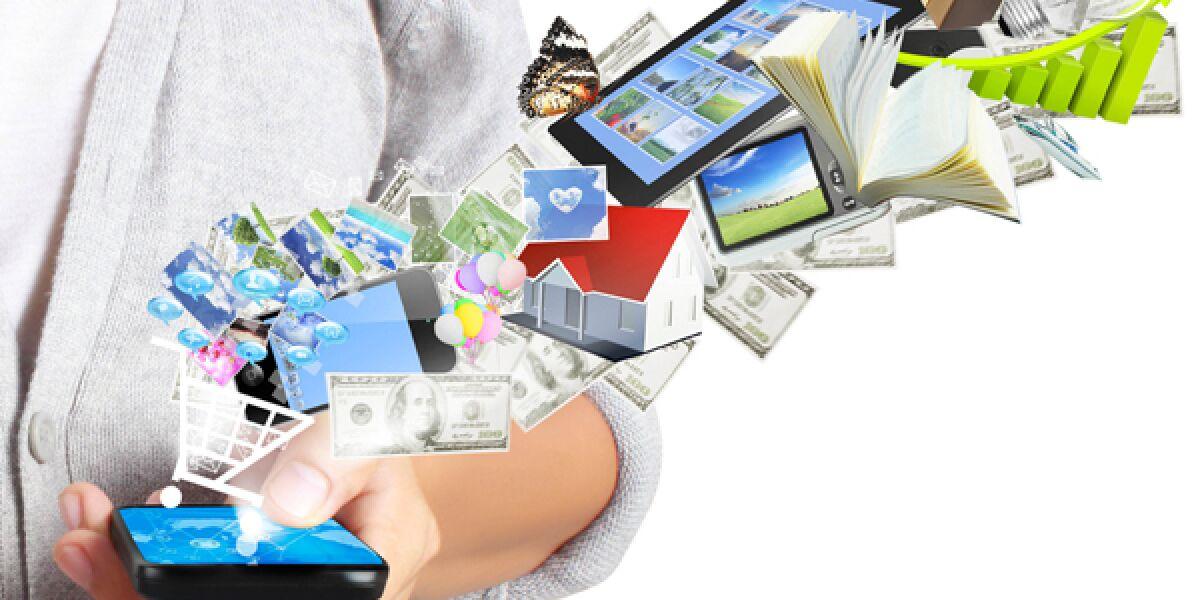 Gegenstände fliegen in Smartphone moblie  Werbung