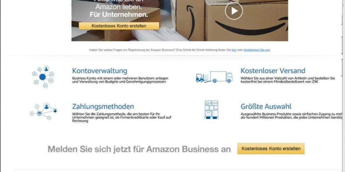 Amazon Business Anmeldung