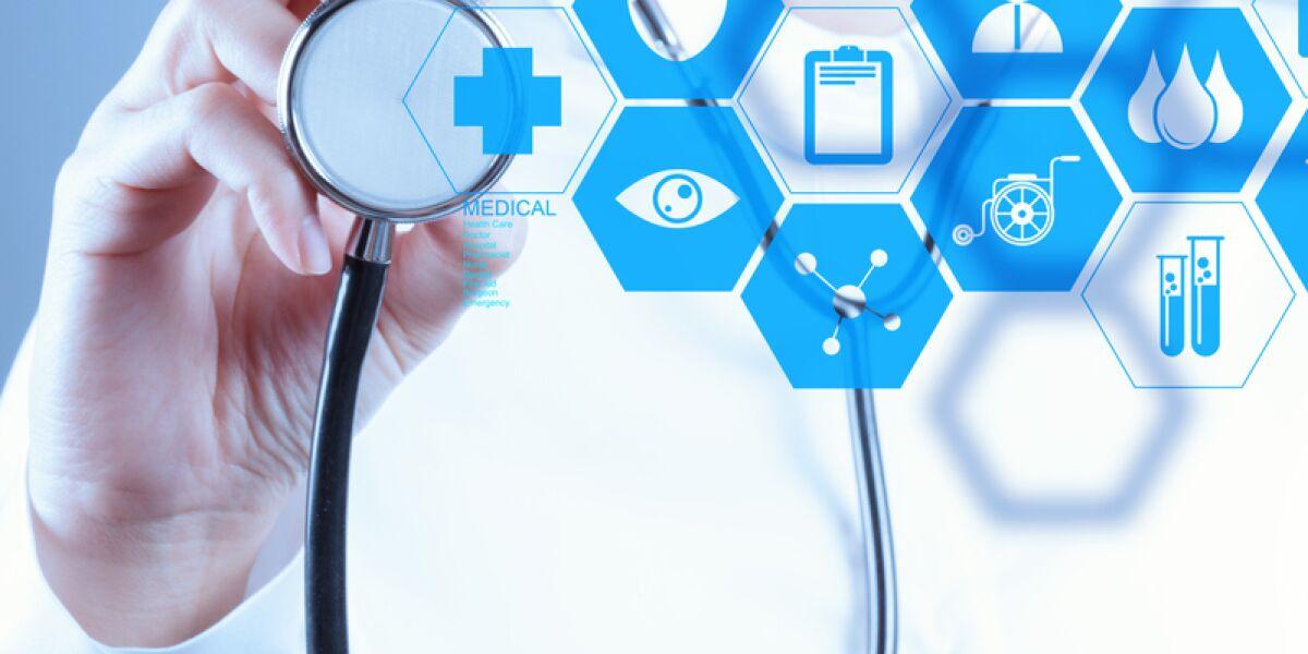 Arzt mit Symbolen