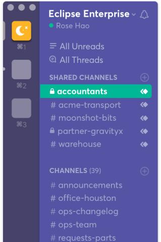 Slack - geteilte private Channels