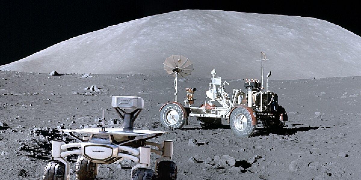 Audi Lunar Quattro besucht das LRV von Apollo 17