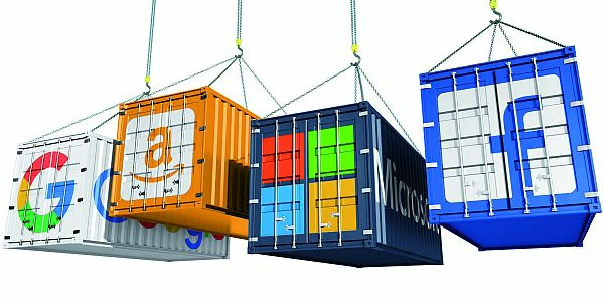 Google-Amazon-Microsoft-Facebook-Container am haken