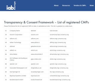 CMP-Liste des IAB Europe auf advertisingconsent.eu