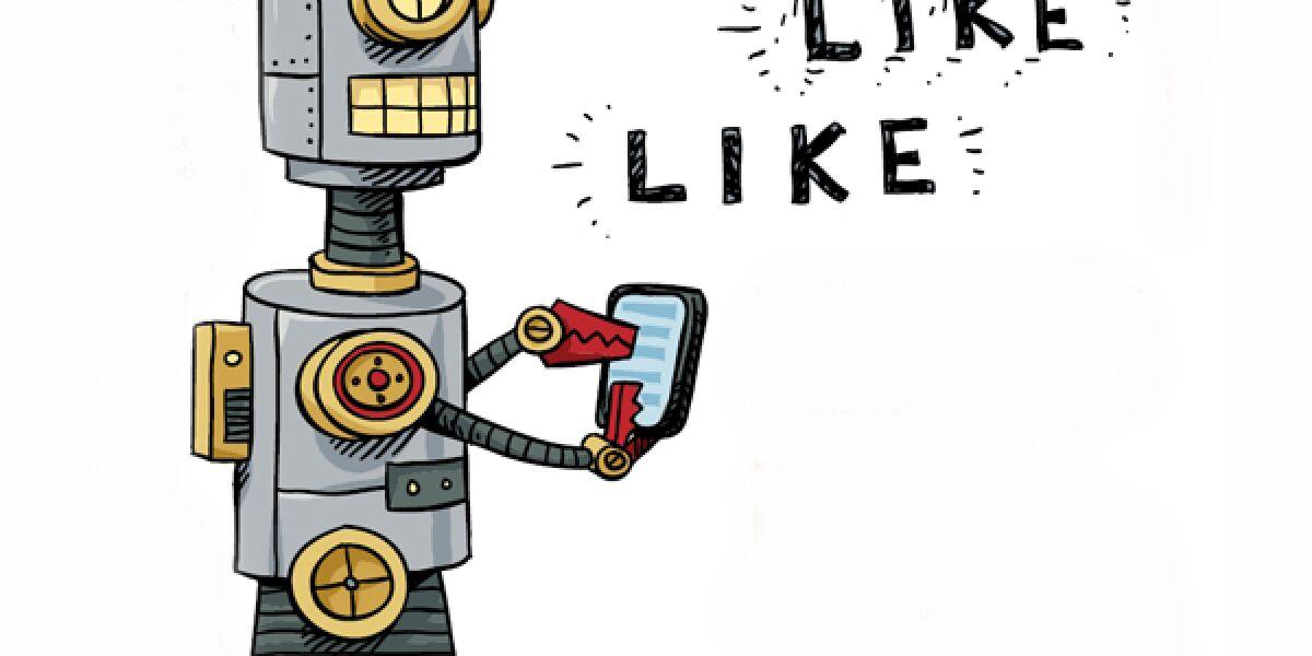 Roboter gibt Likes