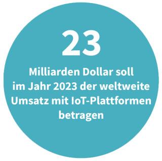 Umsatz mit IoT-Plattformen in 2023 weltweit