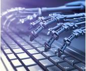 Roboterhände auf einer Tastatur