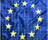 Euroopäische Flagge mit Binärcode