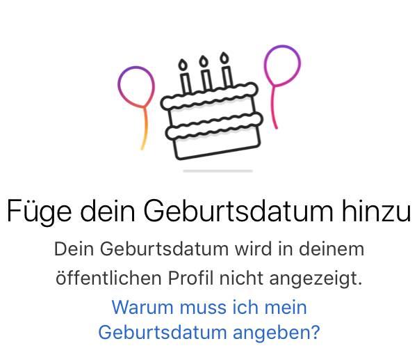 Instagram Geburtsdatum hinzufügen