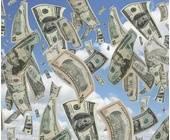 Vom Himmel fliegende Dollarscheine