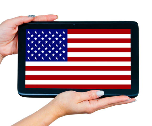 Tablet mit USA-Flagge