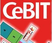 CeBIT Logo mit Austellerliste und Lageplan