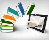 Bücher wandern in ein Tablet