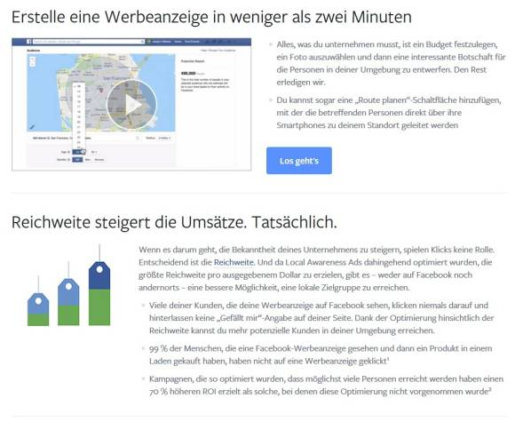 Facebook Webseite zur local awareness ad