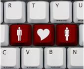 Tastatur mit einem Mann, einem Herz und einer Frau