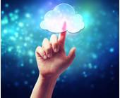 Hand tippt auf wolken-Symbol