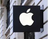 Schild mit Apple Logo vor einem Store