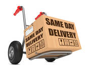 Paket auf dem Same Day Delivery steht