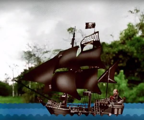 Ver.di zeigt Amazon-Chef Bezos als Piraten-Kapitän
