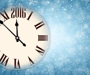 Uhr zeigt kurz vor 2016