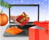 Laptop mit Geschenken