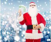 Weihnachtsmann-mit-Geld-im-Schnee