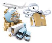 Versand mit Flugzeug, Auto, Drohne
