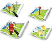 Vier Karten mit Lokalisierung