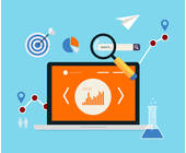 Laptop mit Analysetools