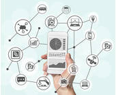 Handy mit Bank-Symbolen