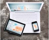 Laptop, Smartphone und Tablet