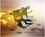 Laptop Briefe Kuverts Weltkarte