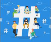 Menschen mit Smartphones sitzen in Hashtag