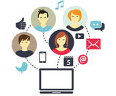 Social-Media-Symbole am PC