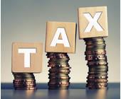 Tax steht auf Bauklötzen