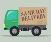 Laster auf dem Same Day Delivery steht