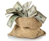 Dollar-Scheine in einem Sack