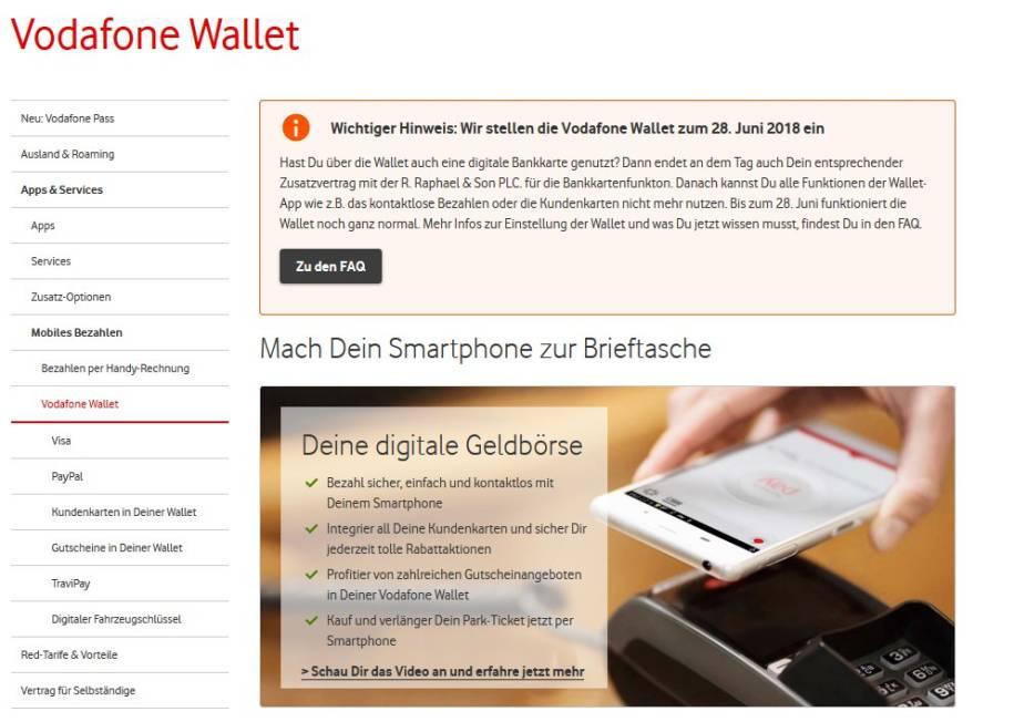 vodafone stellt digitale geldb rse wallet ein. Black Bedroom Furniture Sets. Home Design Ideas