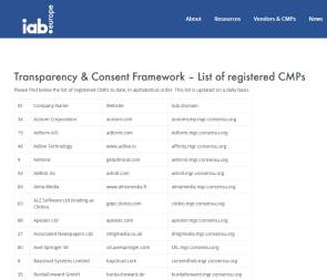 CMP-Liste des IAB Europe auf advertisingconsent.eu